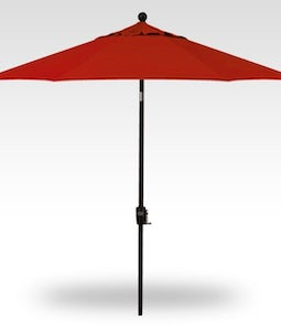 TREASURE GARDEN 9 FT PUSH BUTTON UMBRELLA IN REALLY RED WITH A BLACK STEM