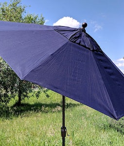 TREASURE GARDEN 9 FT PUSH BUTTON UMBRELLA IN NAVY WITH A BLACK STEM