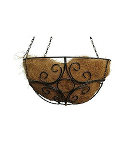 Laurel 14in Round Hanging Basket Black