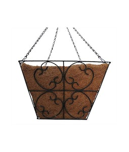 14 In Square Hanging Basket (Includes Custom Liner) Black