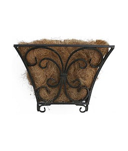 14 In Flourishing Scroll Floor Planter Black