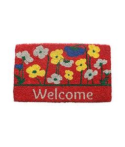 Poppies Welcome Door Mat