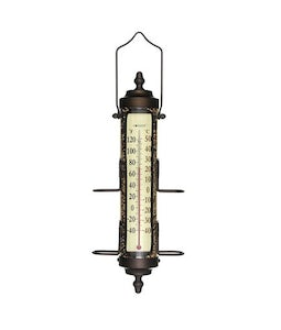 Bird Feeder Thermometer Bronze Patina Finish 17.5 In