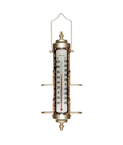 Bird Feeder Thermometer Satin Nickle Finish 17.5 In