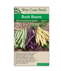 West Coast Seeds Tri-colour Bush Bean Blend
