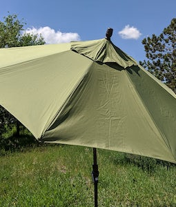 TREASURE GARDEN 9FT COLLAR TILT UMBRELLA IN OLIVE WITH A BRONZE STEM