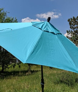 TREASURE GARDEN 9FT COLLAR TILT UMBRELLA IN AQUA WITH BLACK STEM